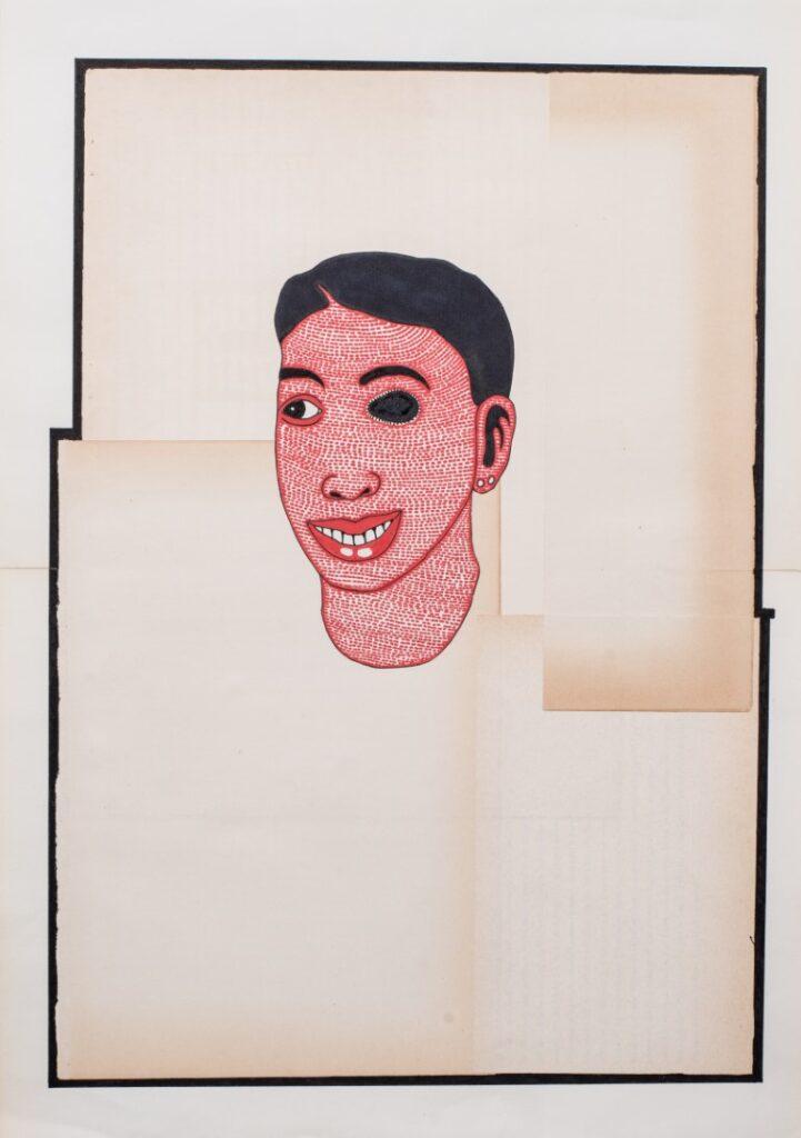 גרי גולדשטיין, שתום עין, 2012, קולאז', צבעי מדגש (מרקרים) על נייר