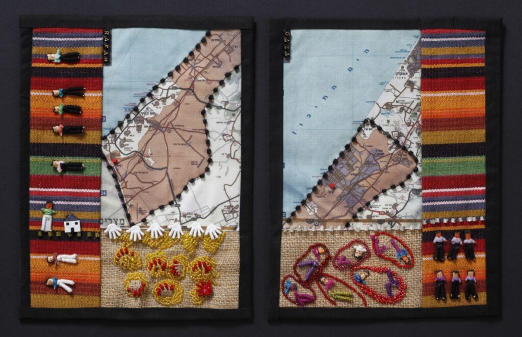 עוד זה מדבר וזה בא, מפה, בד יוטה, כפתורים חרוזים ובובות דאגה, 2006