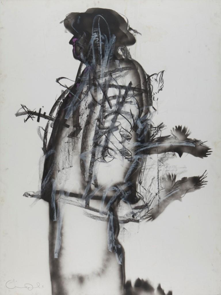 אורי ליפשיץ, עגנון 2, טכניקה מעורבת על דיקט, 1994