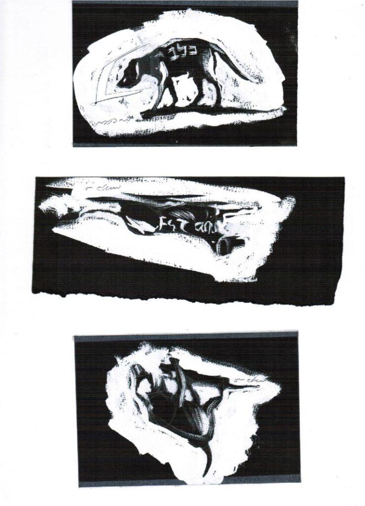 דני קרמן, הכלב בלק, איורים של מתוך הספר מכתב לעגנון, בעריכת אורי סלע, 1994