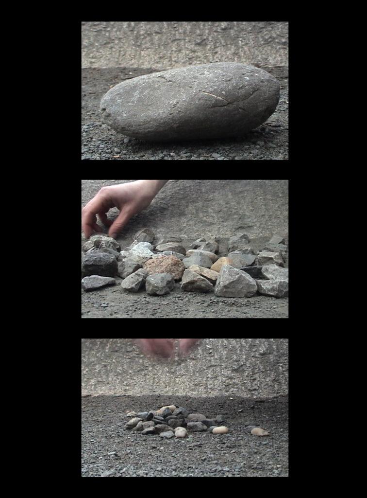 הדסה גולדויכט, פרט מתוך ללא כותרת (שעון), 2006, מיצב וידאו בשלושה ערוצים, 60 דקות כל אחד