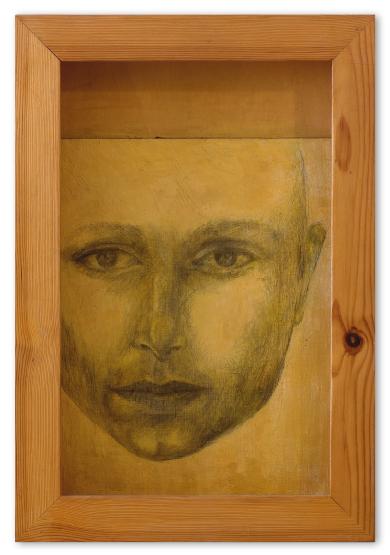הקופסה-(דיוקן-עצמי),-2000,-טכניקה-מעורבת-על-נייר-קנבס,-על-עץ,-קופסת-עץ,-מתוך-הסדרה--איקונה-–-תור-הזהב
