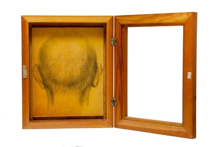 ללא כותרת, 2002, טכניקה מעורבת על נייר קנבס, על עץ, קופסת עץ, מתוך הסדרה איקונה – תור הזהב