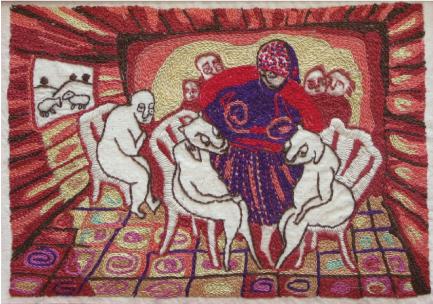 ליאורה-וייז, נָתַן אַהֲרֹן עַל שְׁנֵי הַשְּׂעִירִם גּוֹרָלוֹת גּוֹרָל אֶחָד לה' וְגוֹרָל אֶחָד לַעֲזָאזֵל (ויקרא טז, ח), מתוך הסדרה השעיר לעזאזל, 2011, רקמה