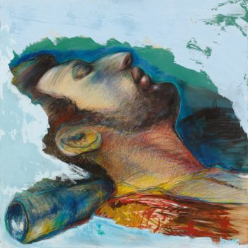אבינדב-(בן-שאול-המלך,-בעקבות-אליהו-מרקוזה),-2016,-טכניקה-מעורבת-על-עץ-לבוד,-מתוך-הסדרה-שובה-של-התשוקה