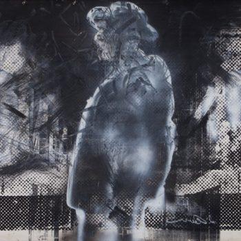 אורי ליפשיץ, עגנון 10, טכניקה מעורבת על דיקט, 1994
